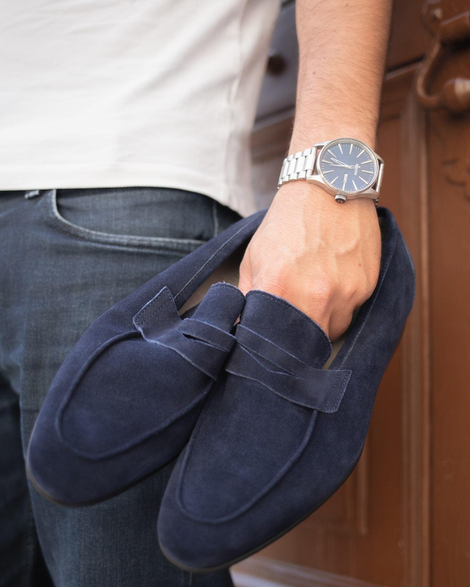 Loafers para homem - azul camurça